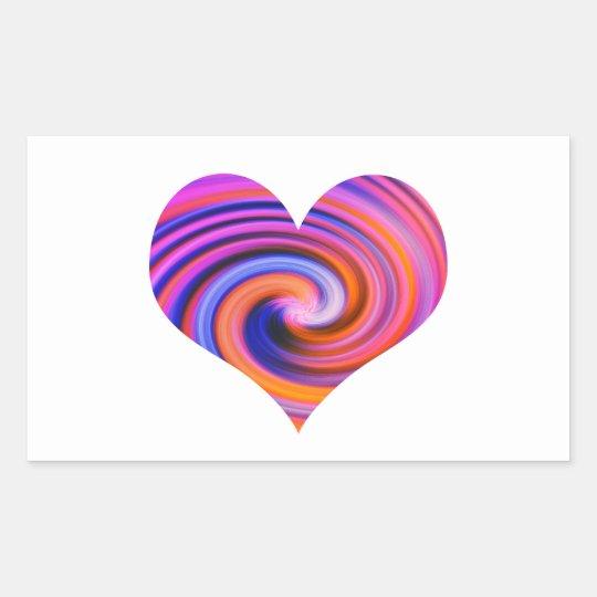 Color Swirl Heart Design Rectangular Sticker