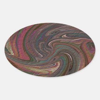 Color Swirl Oval Sticker