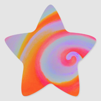 Color Swirl Painting Star Sticker