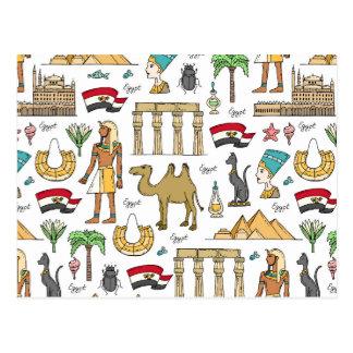 Color Symbols of Egypt Pattern Postcard