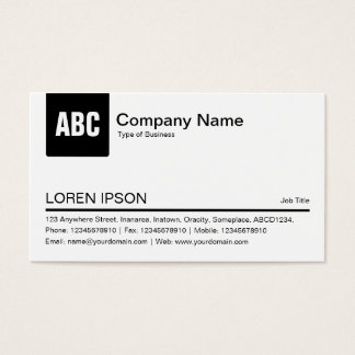 Color Tab - Black Business Card