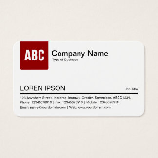 Color Tab - Ruby Red (Eggshell) Business Card
