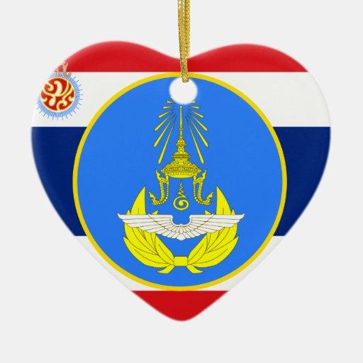 Color tailandés real de la unidad de fuerza aérea, adorno de cerámica en forma de corazón