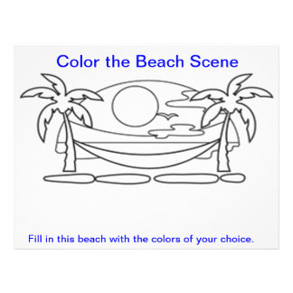 Color the Beach Scene Worksheets Flyer