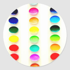 Color the World Watercolor Paints Round Stickers