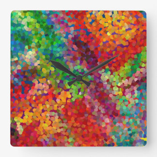 Color Theory Clash Square Wall Clock