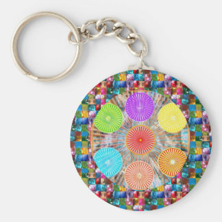 Color Therapy Graphics : Healing Energy Chakra Basic Round Button Keychain