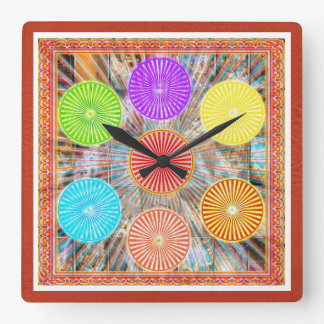 Color Therapy Graphics : Healing Energy Chakra Square Wall Clock