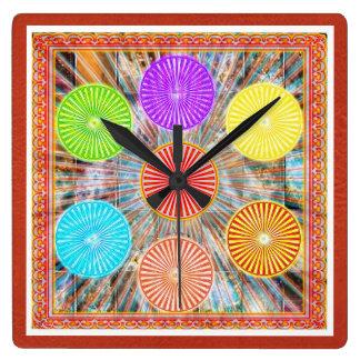 Color Therapy Graphics : Healing Energy Chakra Square Wallclock