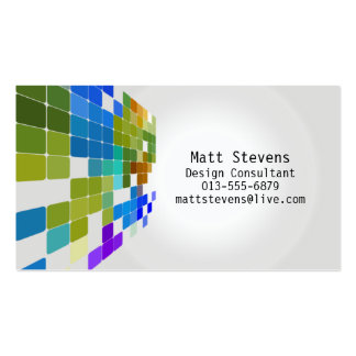 Color Tile Grid Green Blue Business Card