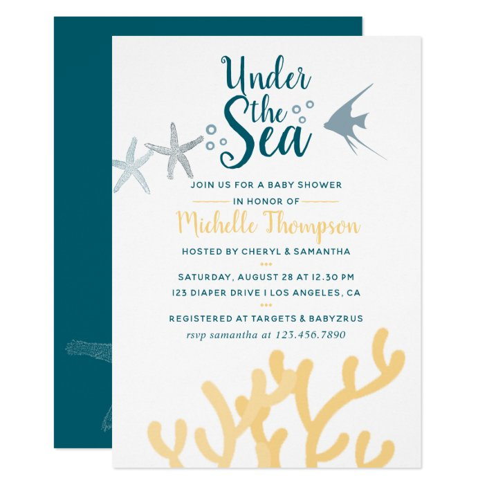 Sea Ocean Themed Baby Shower Invitation