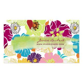Color tropical retro del alegre flowers DIY de Pix Tarjeta De Visita