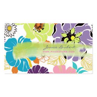 Color tropical retro del alegre flowers DIY de Pix Plantillas De Tarjetas Personales
