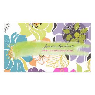 Color tropical retro del alegre flowers DIY de Pix Plantilla De Tarjeta De Visita