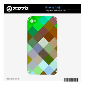 Color verde de los diseños geométricos de los iPhone 4 skins