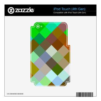 Color verde de los diseños geométricos de los iPod touch 4G skin