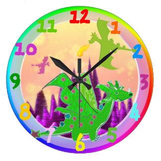 Color verde del arco iris del dragón del dibujo an relojes