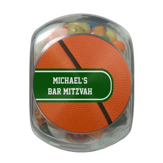 Color verde y blanco del baloncesto personalizado jarras de cristal jelly bely