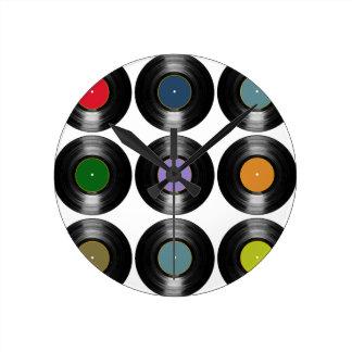 color vinyl records pattern round clock