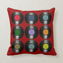 color vinyl records pattern throw pillow