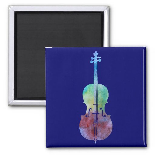 Color Washed Cello String Instrument 2-inch Square Magnet