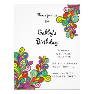 Color Waves Birthday Party Invitation