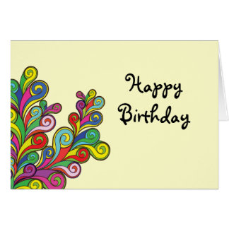 Color Waves Happy Birthday Greeting Card