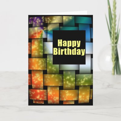 Color Weave Happy Birthday Greeting Cards by dndartstud