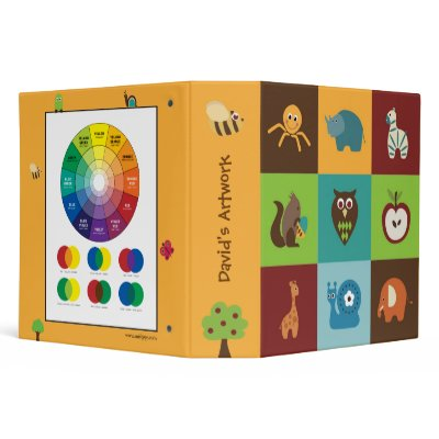 Modern whimsical animals make this a colorful binder for kids. Color wheel