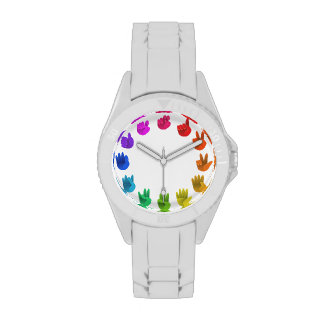 Color wheel asl sign language numbers wrist watches