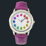 "Color wheel asl sign language numbers wrist watch<br><div class=""desc"">A gift for a very special person</div>"