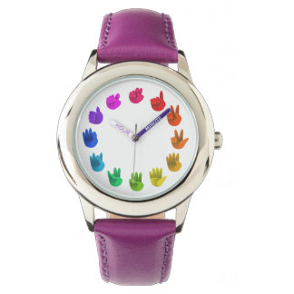 Color wheel asl sign language numbers wrist watch