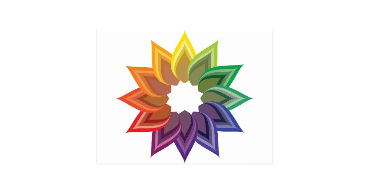 Color Wheel Flower Postcard Zazzle Com