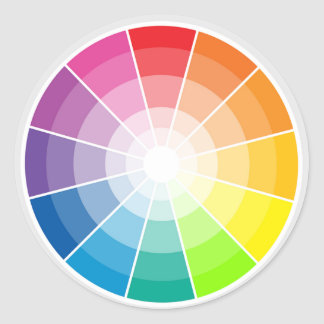 Color wheel light classic round sticker