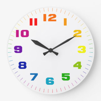 Color Wheel Numbers on White Large Clock