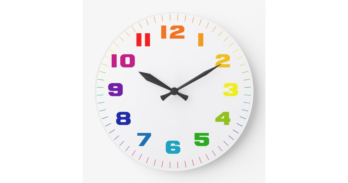 Color Wheel Numbers On White Large Clock Zazzle Com