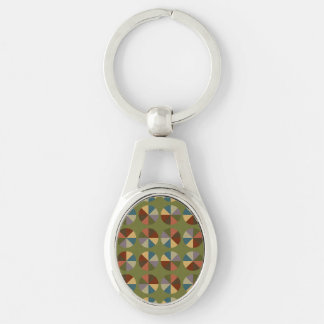 Color Wheel Olive Silver-Colored Oval Metal Keychain