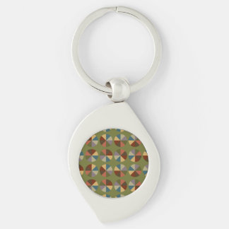 Color Wheel Olive Silver-Colored Swirl Metal Keychain