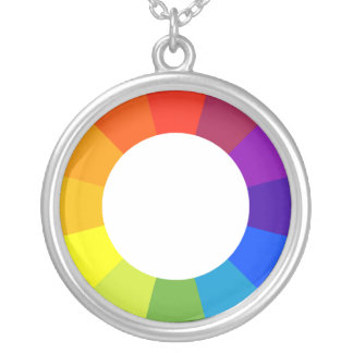 color wheel silver plated necklace