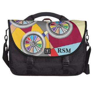 Color wheels and shapes monogrammed commuter bags