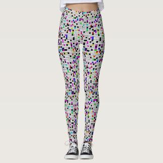 Color & white squares leggings
