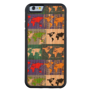 color world maps on wood carved cherry iPhone 6 bumper case