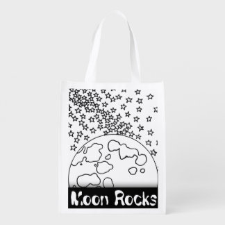 Color your own bag! Coloring Space Planet Sun Moon Grocery Bag