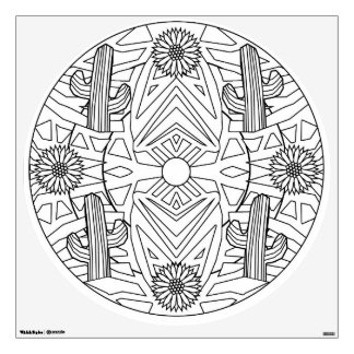 Color Your Own Mandala Wall Decal Cactus Flowers