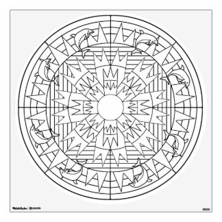 Color Your Own Mandala Wall Decal Dolphins Jumping