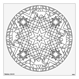 Color Your Own Mandala Wall Decal Foxes Stars Fox