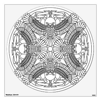 Color Your Own Mandala Wall Decal Great horned Owl
