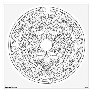 Color Your Own Mandala Wall Decal Tree Squirrels