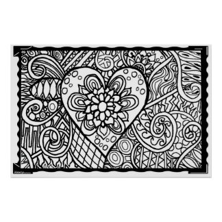 Color your own poster~ Flower Heart Poster