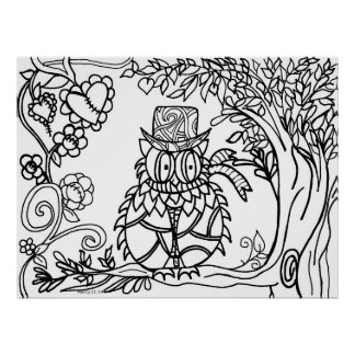 Color your own poster~ whimsical owl poster